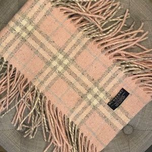 Burberry Pink Grey Plaid Double Fringe Scarf